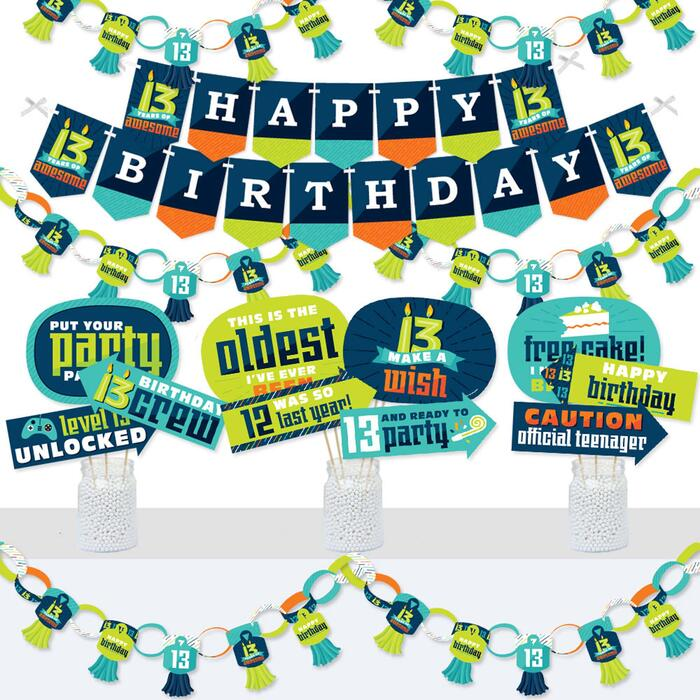 Boy 13th Birthday - Banner and Photo Booth Decorations - Official Teenager Birthday Party Supplies Kit - Doterrific Bundle