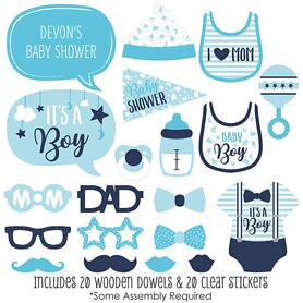 It's a Boy - 20 Piece Blue Baby Shower Photo Booth Props Kit