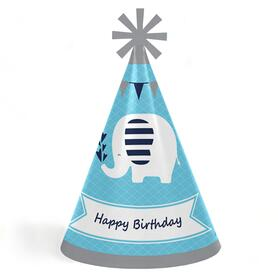 Blue Elephant - Cone Happy Birthday Party Hats for Kids and Adults - Set of 8 (Standard Size)