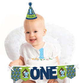 Boy Puppy Dog 1st Birthday - First Birthday Boy Smash Cake Decorating Kit - High Chair Decorations