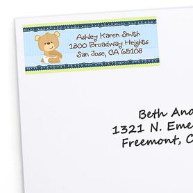 Baby Boy Teddy Bear - Personalized Baby Shower Return Address Labels - 30 ct
