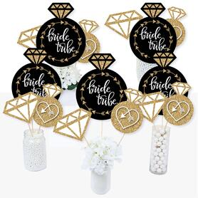 Bride Tribe - Bridal Shower or Bachelorette Party Centerpiece Sticks - Table Toppers - Set of 15