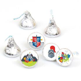 Calling All Knights and Dragons - Medieval Party or Birthday Party Round Candy Sticker Favors - Labels Fit Hershey's Kisses (1 sheet of 108)