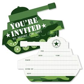 Camo Hero - Shaped Fill-In Invitations - Army Military Camouflage Party Invitation Cards with Envelopes - Set of 12