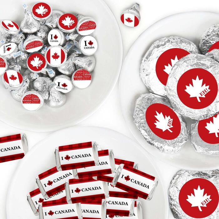 Canada Day - Mini Candy Bar Wrappers, Round Candy Stickers and Circle Stickers - Canadian Party Candy Favor Sticker Kit - 304 Pieces