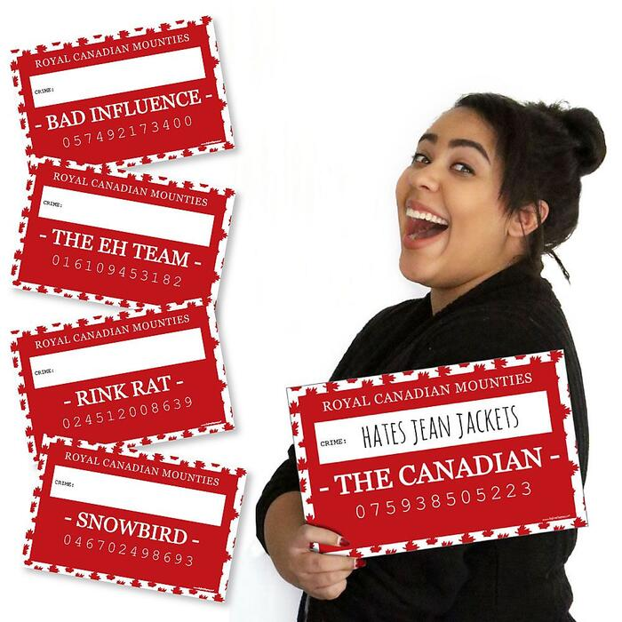 Canada Day - Canadian Party Mug Shots - 20 Piece Photo Booth Props Kit