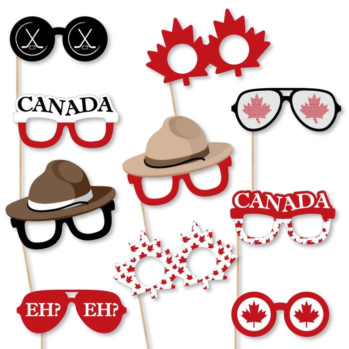 Canada Day Glasses - Paper Card Stock Canadian Party Photo Booth Props Kit - 10 Count