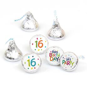 16th Birthday - Cheerful Happy Birthday - Round Candy Labels Colorful Sixteen Birthday Party Favors - Fits Hershey's Kisses - 108 ct