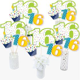 16th Birthday - Cheerful Happy Birthday - Colorful Sixteen Birthday Party Centerpiece Sticks - Table Toppers - Set of 15
