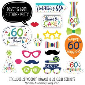 60th Birthday - Cheerful Happy Birthday - 20 Piece Colorful Sixtieth Birthday Party Photo Booth Props Kit