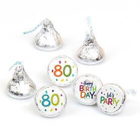 80th Birthday - Cheerful Happy Birthday - Round Candy Labels Colorful Eightieth Birthday Party Favors - Fits Hershey's Kisses - 108 ct