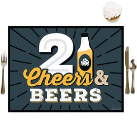 Cheers and Beers to 21 Years - Party Table Decorations - 21st Birthday Party Placemats - Set of 16