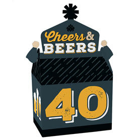 Cheers and Beers to 40 Years - Treat Box Party Favors - 40th Birthday Party Goodie Gable Boxes - Set of 12