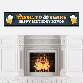 Cheers and Beers to 40 Years - Personalized Happy 40th Birthday Party Banner