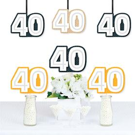 Cheers and Beers to 40 Years - Forty Shaped Decorations DIY 40th Birthday Party Essentials - Set of 20