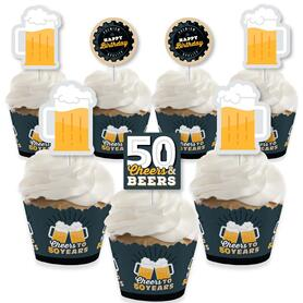 Cheers and Beers to 50 Years - Cupcake Decoration - 50th Birthday Party Cupcake Wrappers and Treat Picks Kit - Set of 24