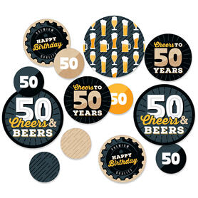 Cheers and Beers to 50 Years - 50th Birthday Party Giant Circle Confetti - Party Decorations - Large Confetti 27 Count