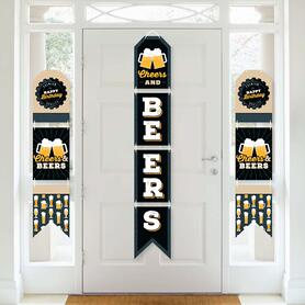 Cheers and Beers Happy Birthday - Hanging Vertical Paper Door Banners - Wall Decoration Kit - Indoor Door Decor