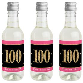 Chic 100th Birthday - Pink, Black and Gold - Mini Wine and Champagne Bottle Label Stickers - Birthday Party Favor Gift - For Women and Men - Set of 16