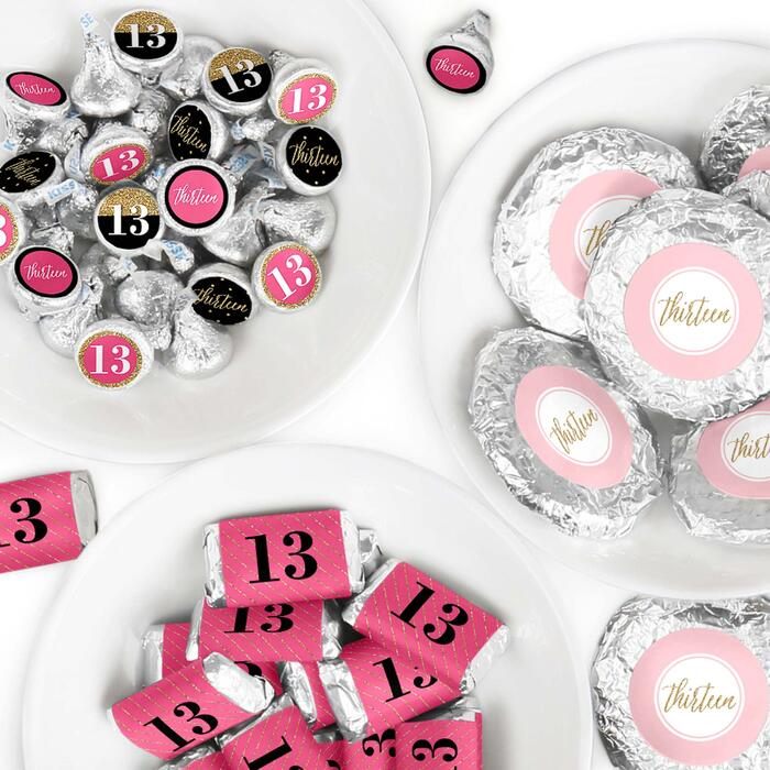 Chic 13th Birthday - Pink, Black and Gold - Mini Candy Bar Wrappers, Round Candy Stickers and Circle Stickers - Birthday Party Candy Favor Sticker Kit - 304 Pieces