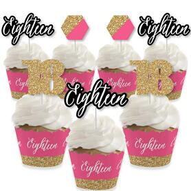 Chic 18th Birthday - Pink, Black and Gold - Cupcake Decoration - Birthday Party Cupcake Wrappers and Treat Picks Kit - Set of 24