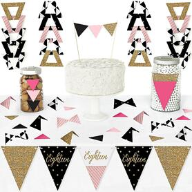 Chic 18th Birthday - Pink, Black and Gold - DIY Pennant Banner Decorations - Birthday Party Triangle Kit - 99 Pieces