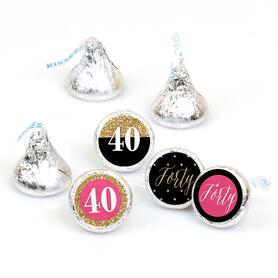 Chic 40th Birthday - Pink, Black and Gold - Round Candy Labels Birthday Party Favors - Fits Hershey's Kisses - 108 ct