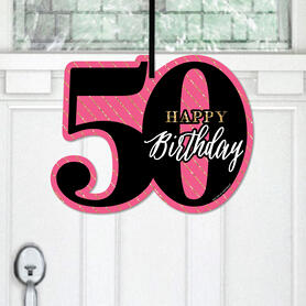 Chic 50th Birthday - Pink, Black and Gold - Hanging Porch Birthday Party Outdoor Decorations - Front Door Decor - 1 Piece Sign