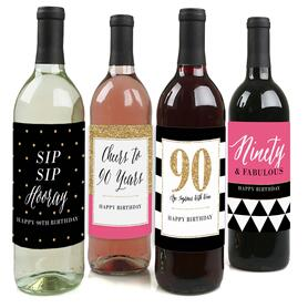 Chic 90th Birthday - Pink, Black and Gold - Decorations for Women and Men - Wine Bottle Label Birthday Party Gift - Set of 4