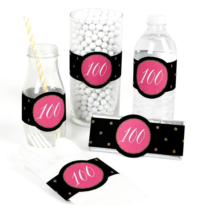 Chic 100th Birthday - Pink, Black and Gold - DIY Party Wrappers - 15 ct