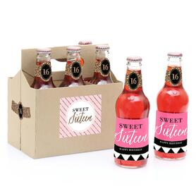 Chic 16th Birthday - Pink, Black and Gold -  Soda Bottle Labels and 6-Pack Carrier Birthday Gift - Set of 6