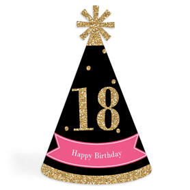 Chic 18th Birthday - Pink, Black and Gold - Cone Happy Birthday Party Hats for Kids and Adults - Set of 8 (Standard Size)