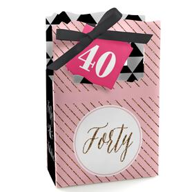 Chic 40th Birthday - Pink, Black and Gold - Birthday Party Favor Boxes - Set of 12