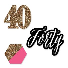 Chic 40th Birthday - Pink, Black and Gold - DIY Shaped Party Paper Cut-Outs - 24 ct