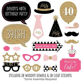 Chic 40th Birthday - Pink, Black and Gold - 20 Piece Photo Booth Props Kit