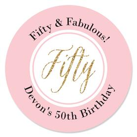 Chic 50th Birthday - Pink, Black and Gold - Personalized Birthday Party Sticker Labels - 24 ct