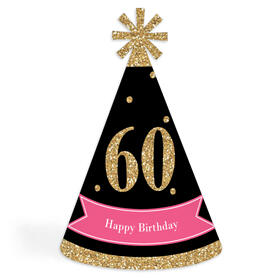 Chic 60th Birthday - Pink, Black and Gold - Cone Happy Birthday Party Hats for Kids and Adults - Set of 8 (Standard Size)
