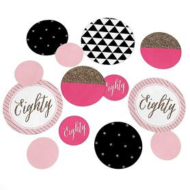 Chic 80th Birthday - Pink, Black and Gold - Personalized Birthday Party Giant Circle Confetti - 80th Birthday Party Decorations - Large Confetti 27 Count