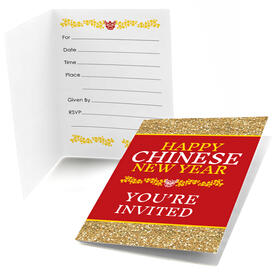 Chinese New Year - Fill In Year of the Ox Party Invitations - 8 Count