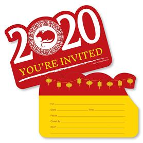 Chinese New Year - Shaped Fill-In Invitations - 2020 Year of the Rat Party Invitation Cards with Envelopes - Set of 12