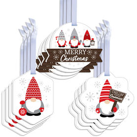 Christmas Gnomes - Assorted Hanging Holiday Party Favor Tags - Gift Tag Toppers - Set of 12