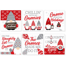 Christmas Gnomes - Funny Holiday Party Decorations - Drink Coasters - Set of 6