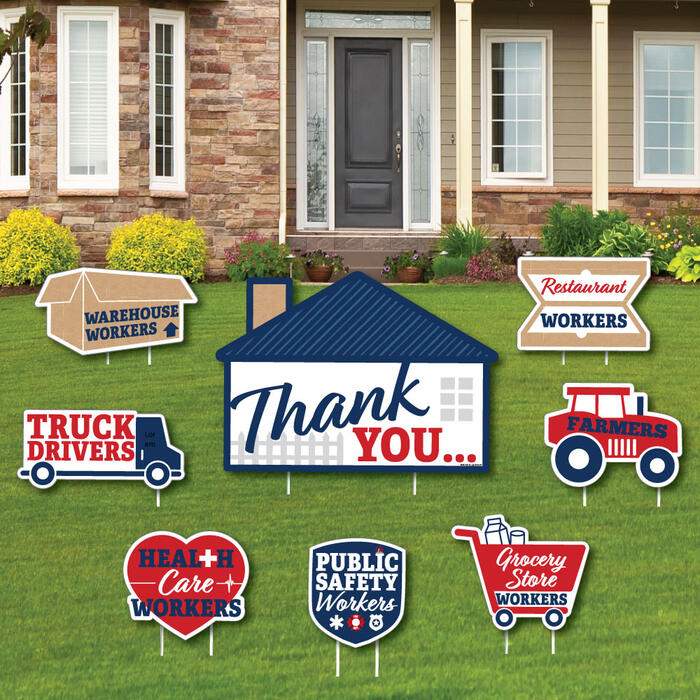 Thank You Front Line Workers - Yard Sign and Outdoor Lawn Decorations - Yard Signs - Set of 8