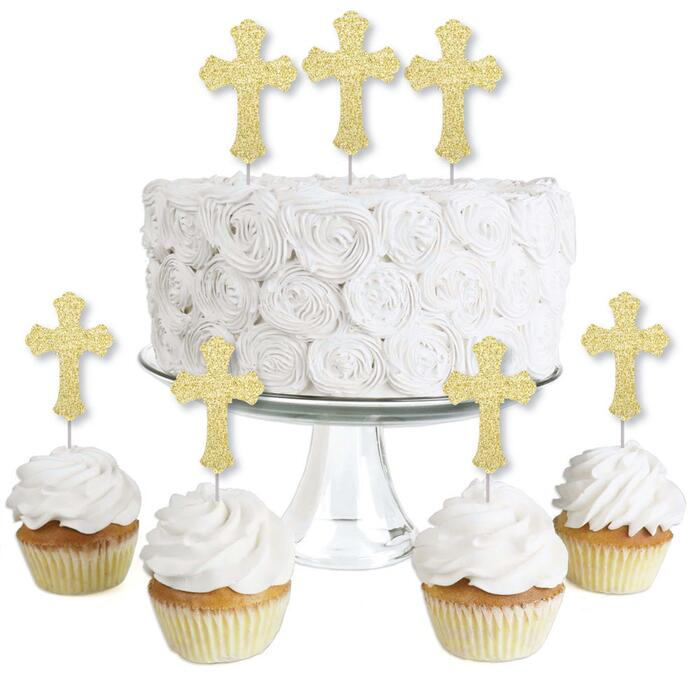 Gold Glitter Cross - No-Mess Real Gold Glitter Dessert Cupcake Toppers - Baptism or Baby Shower Clear Treat Picks - Set of 24