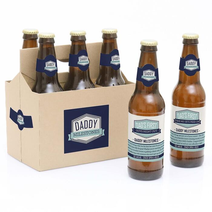 Daddy's First Milestones - Decorations for Women and Men - 6 Beer Bottle Labels and 1 Carrier - Father's Day Gift