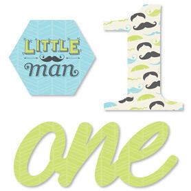 1st Birthday Dashing Little Man Mustache Party - DIY Shaped First Birthday Party Cut-Outs - 24 ct