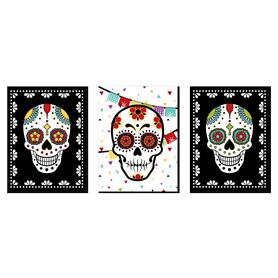 Day Of The Dead - Sugar Skull Wall Art, Kids Room Decor and Themed Room Home Decorations - 7.5 x 10 inches - Set of 3 Prints
