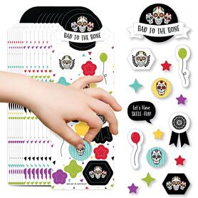 Day of the Dead - Halloween Sugar Skull Party Favor Kids Stickers - 16 Sheets - 256 Stickers