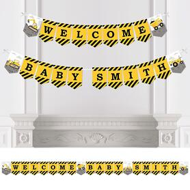 Dig It - Construction Party Zone - Personalized  Baby Shower Bunting Banner and Decorations