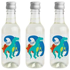 Roar Dinosaur - Mini Wine and Champagne Bottle Label Stickers - Dino Mite T-Rex Baby Shower or Birthday Party Favor Gift - For Women and Men - Set of 16